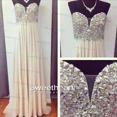 A-line Sweetheart Neckline Rhinestone Long Chiffon Prom Dresses, Evening Dresses from Sweetheart Girl