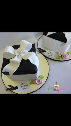 Black & white present cake.