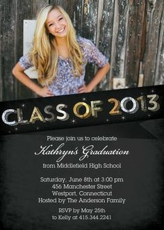 #highschool #college #graduation Splendid Sparkles - Graduation Invitations in Black | Bonnie Marcus