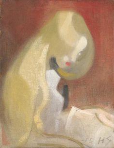 Helene Schjerfbeck - Girl with blonde hair, Oil on canvas Helene Schjerfbeck, Helsinki, Blonde Hair Girl, European Paintings, First Art, People Art, Wassily Kandinsky, Gustav Klimt, Oeuvre D'art