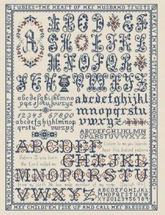 """Namesake Anniversary Sampler"" is the title of this cross stitch pattern from My Big Toe. This sampler features selections from Proverbs 31 and Isaiah 49:1."