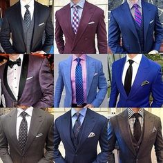 Love the purple & burgundy tie! Mens Fashion Blazer, Mens Fashion Wear, Big Men Fashion, African Men Fashion, Suit Fashion, Best Suits For Men, Mens Suits, Terno Slim, Shirt And Tie Combinations