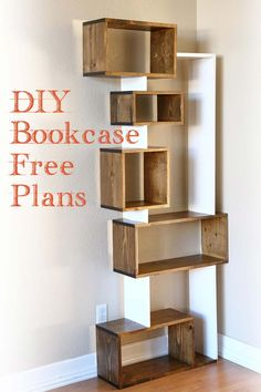 DIY wood bookcase. Check out our website for how to build it with free furniture plans.