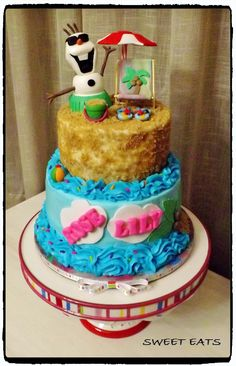 Olaf beach theme birthday cake