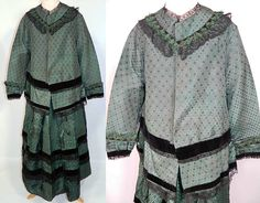 Victorian Green Silk Brocade and Black Chantilly Lace Maternity Dress.
