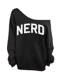 Nerd  Black Slouchy Oversized Sweatshirt by DentzDenim on Etsy, $29.00