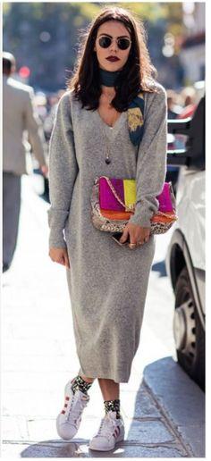 0e09ea89f47 Katerina By Carolines Mode Gray Maxi Dress Fall Street Style Inspo