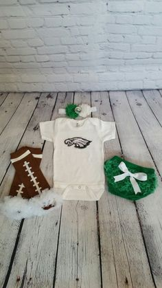 Philadelphia Eagles baby outfit - Football leg warmers - Eagles onesie - Eagles headband - Baby girl football