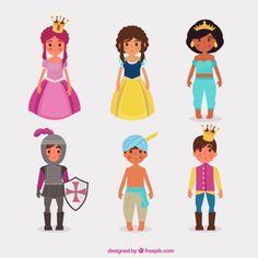 Tipos de princesa e príncipes Vetor grátis