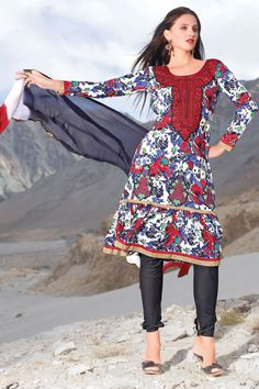 Casual party wear printed salwar kameez with matching dupatta and bottom.