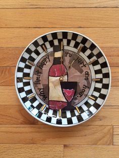 WINE BOTTLE DESIGN decoupage clocks made from recycled plates by crazyclocklady on Etsy https://www.etsy.com/listing/222766513/wine-bottle-design-decoupage-clocks-made