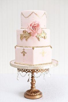 Tartas de boda - Wedding Cake - Pink and gold wedding cake Beautiful Wedding Cakes, Gorgeous Cakes, Pretty Cakes, Amazing Cakes, Cake Wedding, Wedding Shoes, Fondant Cakes, Cupcake Cakes, Buttercream Cake