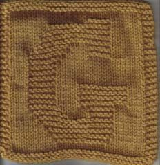 "Knitted ""G"" square/cloth"