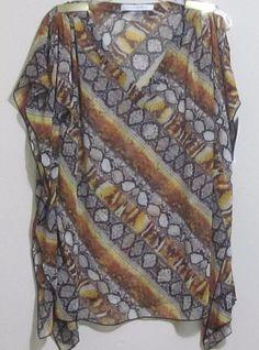 Peter Nygard top blouse women's size M reptile print semi-sheer 100% poly L30 #PeterNygard #Blouse #CareerCasualEvening