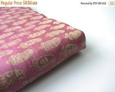 ON SALE 25% OFF Pink gold paisley benares silk brocade from