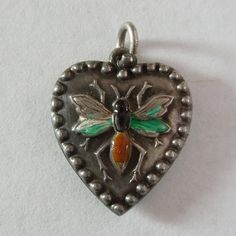 Victorian Sterling Silver Puffy Heart Charm ~ Enamel Wasp/Hornet/Insect/Bug ~ Engraved 'HCA'