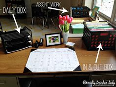 """BEST OVERALL SYSTEM I'VE SEEN. Also uses a hanging crate to """"file"""" turned in work awaiting grading and graded work to be picked up/passed out. Other ideas as well. Middle School Classroom, New Classroom, Classroom Setting, Classroom Setup, Classroom Design, Science Classroom, Highschool Classroom Decor, Classroom Hacks, Spanish Classroom"""