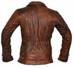 Women cafe racer moto motard cuir marron vieilli Veste Taille S M L XL XXL