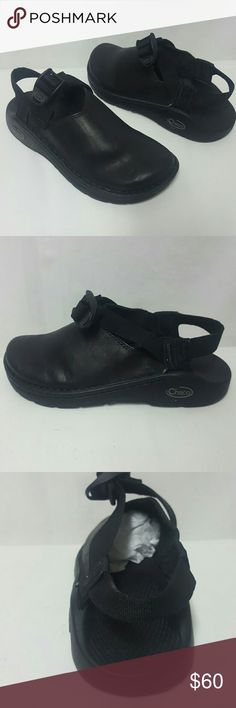 Chaco black leather slingback clogs New Size 5 Chaco shoes new without box. Size 5, sole is 9.7 inches across. Thank you Chacos Shoes Flats & Loafers