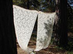 Vintage Ecru Lace Curtain Panels  by NopalitoVintageMore on Etsy, $20.00