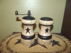 Primitive Crackle Wood Salt & Pepper Mill Set ~ Country Kitchen Decor