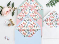 Watercolor Envelope Liner Printable Envelope Liner Wedding Diy Envelope Liners, Wedding Decorations, Wedding Ideas, Wooden Decor, Wall Art Decor, Diy Ideas, Wedding Flowers, Wedding Invitations, Paper Crafts