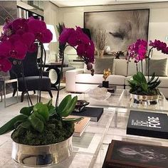 beautiful orchids in living room Home Living Room, Living Room Designs, Living Room Decor, Apartment Living, Decorating Coffee Tables, Home Decor Inspiration, Decor Ideas, Home Interior Design, Cosy Interior