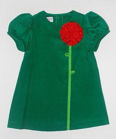 Look at this #zulilyfind! Green Floral Corduroy Dress - Infant, Toddler & Girls by SIMI #zulilyfinds