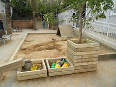 An outdoor learning space is where children can exercise gross motor skills, social and emotional skills. Backyard Play, Play Yard, Backyard For Kids, Natural Playground, Outdoor Playground, Outdoor Areas, Outdoor Structures, Outdoor Learning Spaces, Preschool Garden