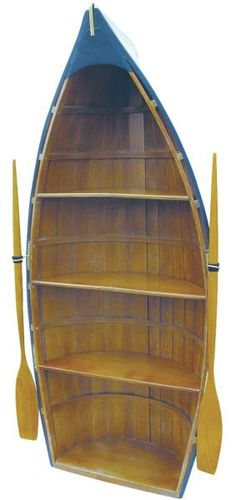 Boot-Regal Holz, teilweise bemalt, 4 Fächer, H: 135cm, B: 56cm, T: 30cm
