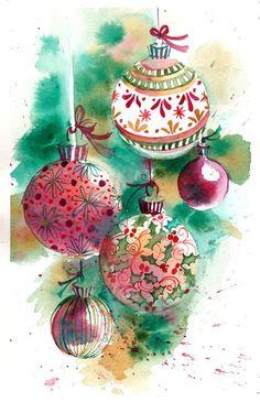 COPIE aquarelle originale d'un tableau de Noël ornements muraux / décoration  La taille de ce tableau est de 5 X 7» et ferait une addition d'art murale belle à n'importe quelle maison ou bureau.  Ce tableau est une COPIE de ma peinture ORIGINALE Aquarelle TIRAGE original Fine Art Noël Cadeau de Noël IDÉES   Chacune de mes peintures sont soigneusement confectionné avec la meilleure peinture aquarelle et peint sur papier aquarelle de la lourde Arches professionnel. Lors de la commande…