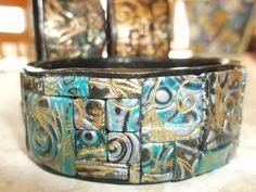 Mosaic metallic bangle by Lori Von der Puetten