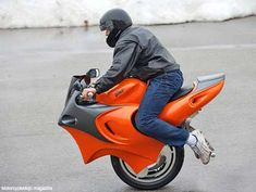 Uno Motorcycle by Ben Gulak: Lean forward to accelerate, sit back to slow down, lean to turn. Uses gyroscopic technology and has two wheels mounted side by side.