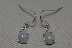 3.47 Carat Lavender Jade Cabochon French Hook Dangle Earrings