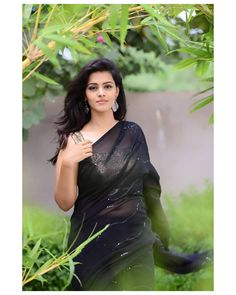 In a black color sheer saree and gold color sleeveless blouse design Beautiful Girl Photo, Beautiful Girl Indian, Most Beautiful Indian Actress, Beautiful Saree, Beautiful Women, Amazing Women, Cute Beauty, Beauty Full Girl, Beauty Women