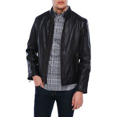 Cole Haan Leather & Brass Moto Jacket ($250) ❤ liked on Polyvore featuring men's fashion, men's clothing, men's outerwear, men's jackets, black, mens zip jacket, mens fur lined leather jacket, mens leather sleeve jacket, mens leather moto jacket and cole haan mens jacket