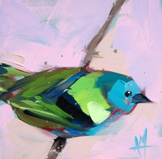 Green headed Tanager no. 6 original bird oil painting by Angela Moulton 6 x 6 inches on panel ship date March 7