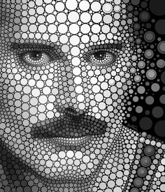 DIGITAL CIRCLISM BY BEN HEINE *-*Digital Circlism: portraits of celebrities by Ben Heine Digital Circlism portraits of celebrities by Ben Heine: Freddie Mercury  He takes inspiration from several photographs before making a rough digital painting. He then begins the long process of placing circles on a black background using image software  Queen legend Freddie Mercury