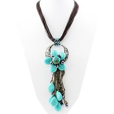"""Turquoise Flower with Cluster Pendant Necklace is 18"""" with a 2"""" extender Pendant and Cluster is approximately 7"""" in height Fashion Jewelry Wholesale"""