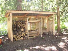 Shed Plans - Wood Pallet Building Plans Building A Wood Shed, Deck Building Plans, Pallet Building, Building Ideas, Building Design, Firewood Shed, Firewood Storage, Unique Garden, Wood Storage Sheds