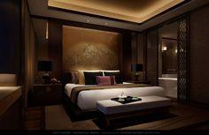 Bedroom No. 4 - It's a warm, dark, Oriental feel, while still being modern.