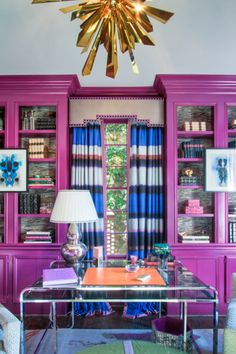 orchid lacquered bookshelves for the glam office