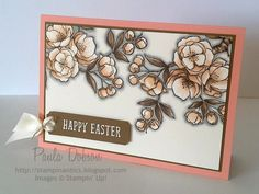 Stampin' Up! ... hand crafted Easter card fro Stampinantics ... luv the soft blended colors of the apple blossom branches ... shadowing makes them pop from the papge ...