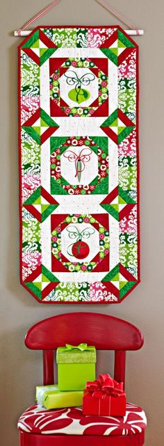 = free pattern = Deck the Wall at All People Quilt.  Made with fussy-cut ornament fabric.
