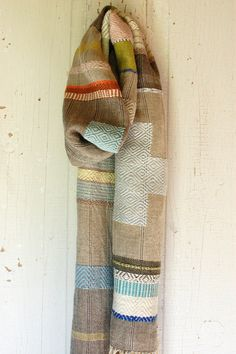 Patchy Fog handwoven hemp and linen scarf by Avalanche Looms via Etsy