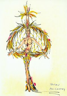 Bob Mackie Showgirl costume sketch Fashion Illustration Sketches, Fashion Sketches, Illustration Art, Illustrations, Showgirl Costume, Vegas Showgirl, Moulin Rouge Costumes, Katy Perry Dress, Costume Design Sketch