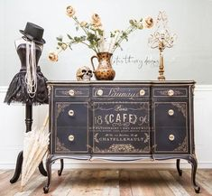 Rare Vintage French Ornate Chest of Drawers Dresser Buffet in Navy and Gold Script and Accents - Mes Paint Furniture, Furniture Projects, Furniture Makeover, Refurbished Furniture, Furniture Showroom, Furniture Logo, French Furniture, Office Furniture, Furniture Decor