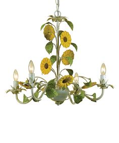 Look at this Cream Kansas Sunflowers Chandelier on #zulily today!