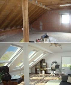 Dachstuhl - Dachstuhl Imágenes efectivas que le proporcionamos sobre diy Una imagen de alta calidad puede decir - Attic Bedroom Designs, Attic Bedrooms, Attic Design, Bedroom Small, Attic Renovation, Attic Remodel, Attic House, Attic Apartment, Apartment Therapy