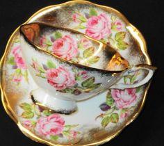 ٠•●●♥♥❤ஜ۩۞۩ஜஜ۩۞۩ஜ❤♥♥●   Royal Standard ROSE Pink Roses-N-Gold  Tea cup and saucer Teacup  ٠•●●♥♥❤ஜ۩۞۩ஜஜ۩۞۩ஜ❤♥♥●